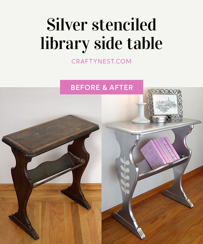 Crafty Nest silver stenciled library side table Pinterest photo