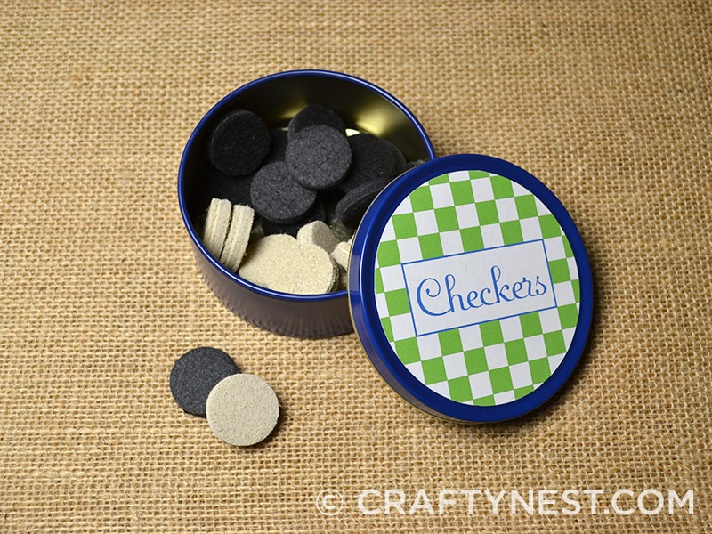Finished checkers tin, photo