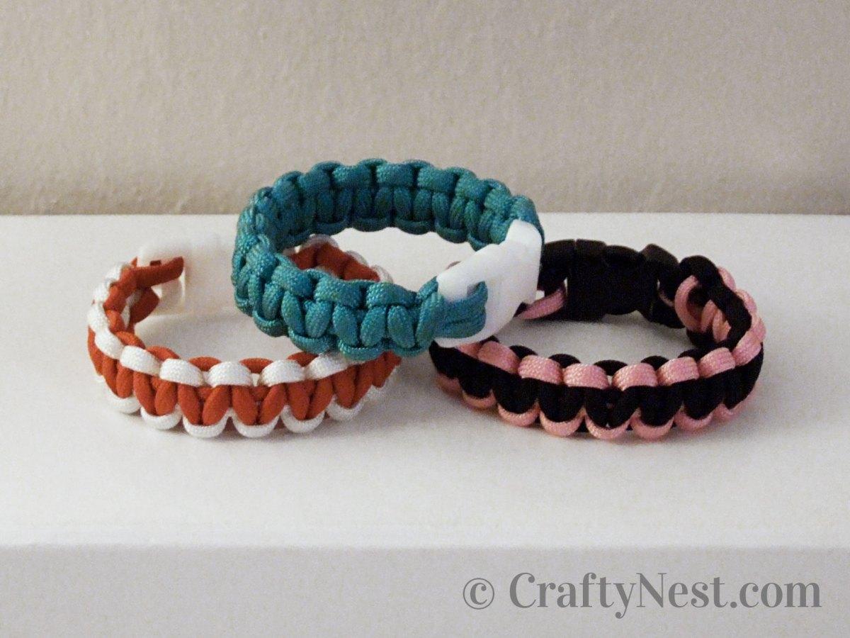 Three paracord bracelets, photo