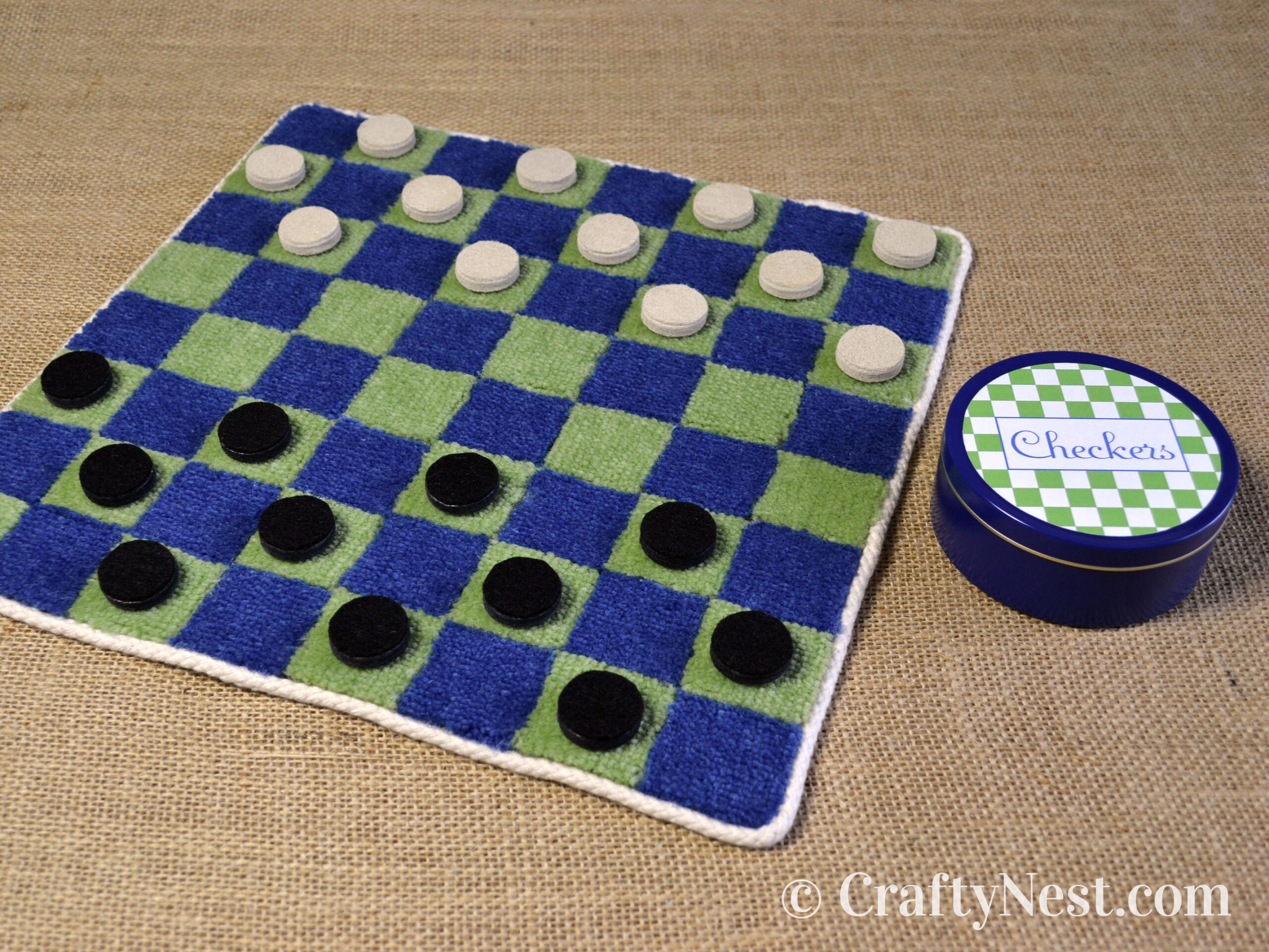 DIY carpet-sample checkers game, photo