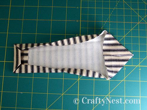 Fold and press corners, photo
