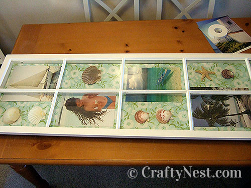 Insert backing and arrange pictures, photo