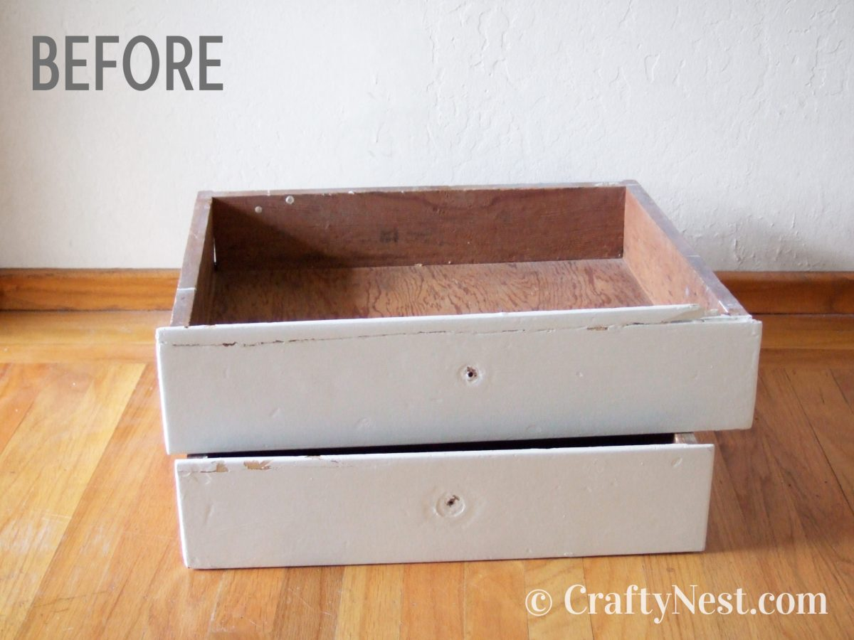 Two salvaged drawers, before photo