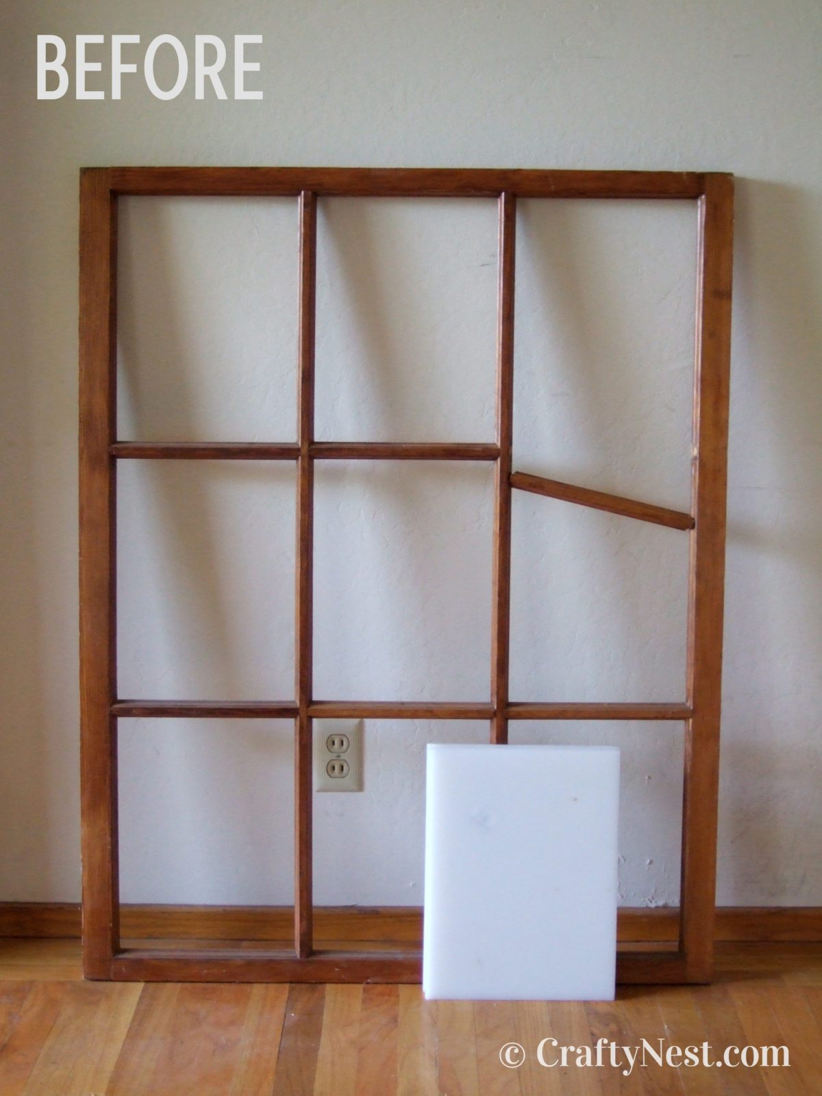 The salvaged window, before photo