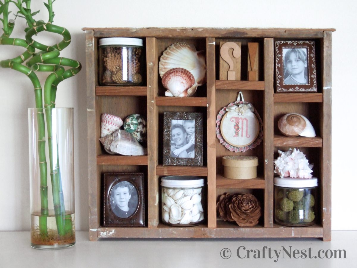 DIY rustic shadowbox made from two drawers, photo