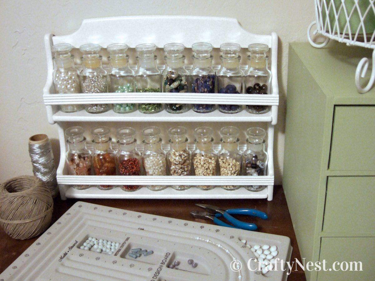 Spice rack turned into bead storage rack, photo