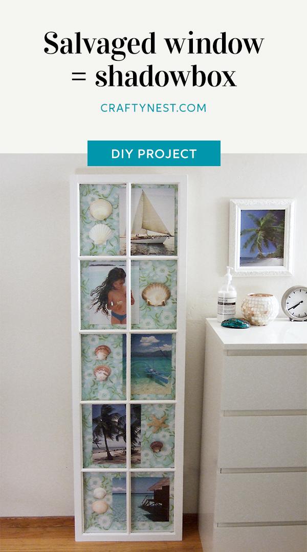 Crafty Nest salvaged window shadowbox frame Pinterest image