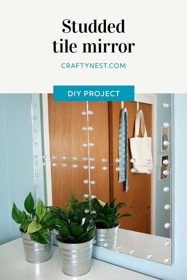 Crafty Nest studded tile mirror Pinterest image