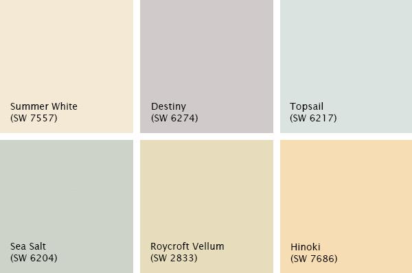 Pale Sherwin-Williams color palette, photo