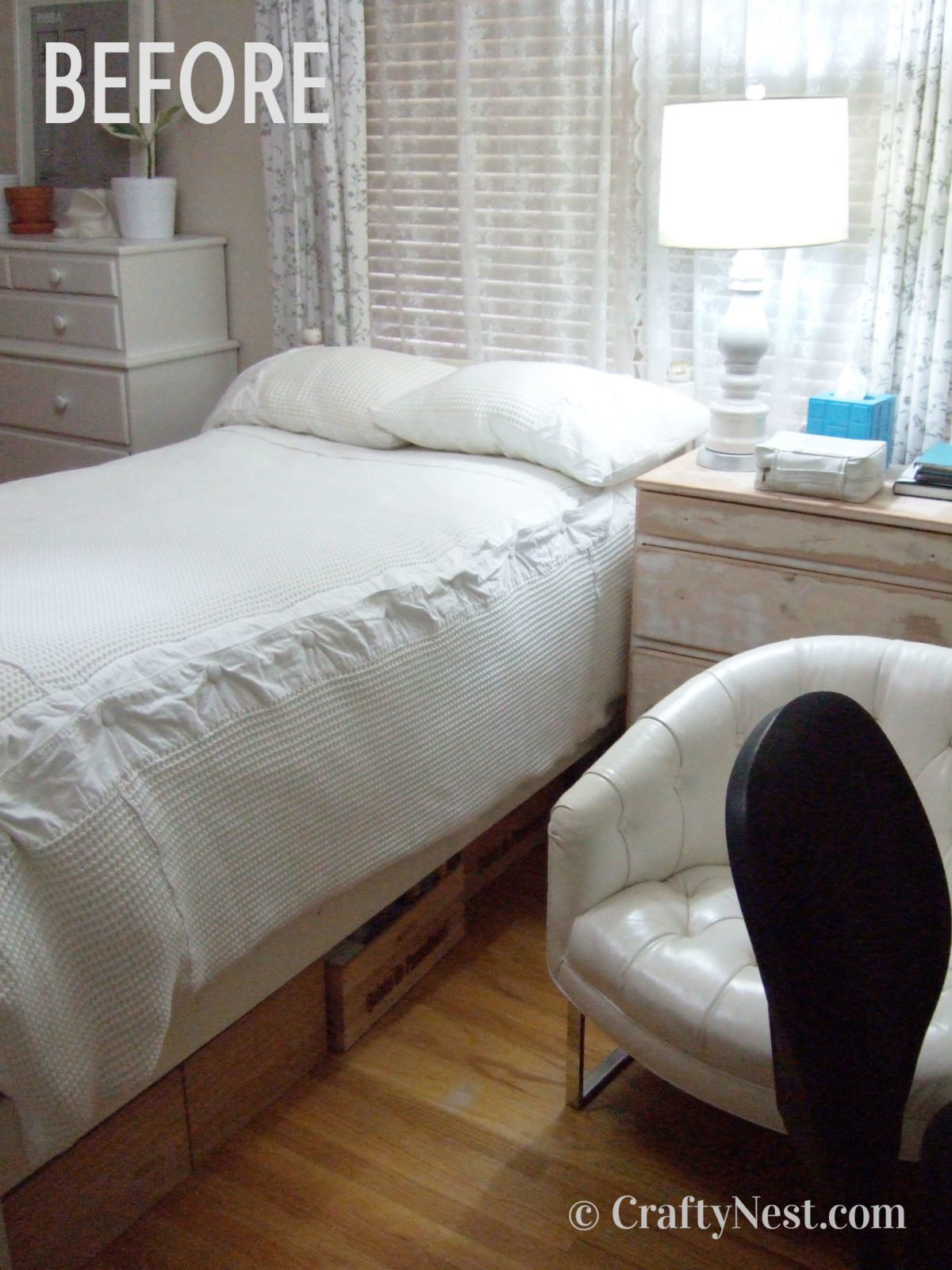 Bed and nightstand, before photo