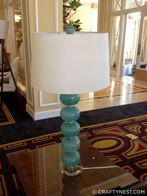 Glass ball lamp in Hotel Monaco lobby, photo