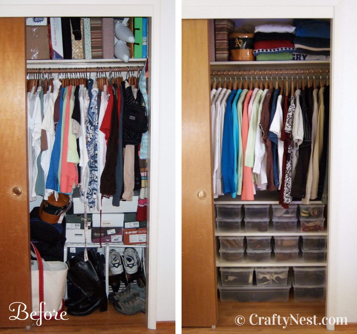 Before and after closet photo