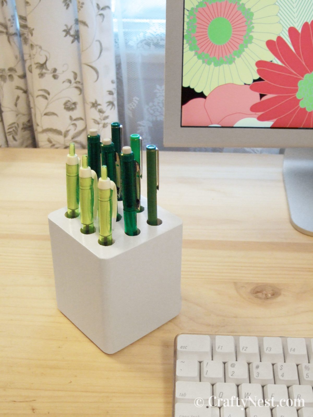 Pencil caddy made from salvaged wood, photo