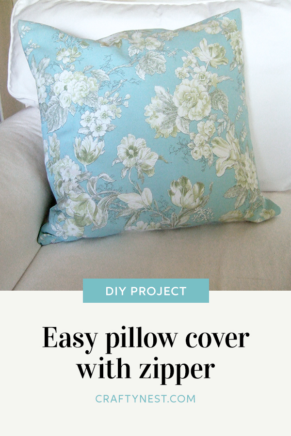 Crafty Nest easy pillow cover with zipper Pinterest image