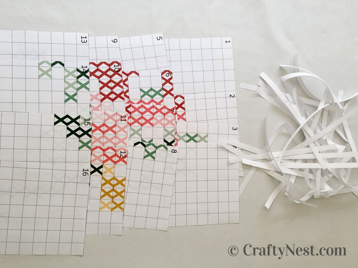 Th cross-stich pattern printed and trimmed, photo
