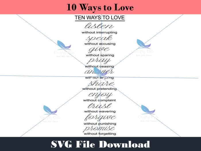 Ten Ways to Love SVG Download also includes PDF, JPEG and Silhouette Studio files. This download is great for creating your own wall art, screen printing on shirts and sweaters, cups and anything else you can thing of adding it to. This is a great unique gift idea for the one who is hard to shop for.