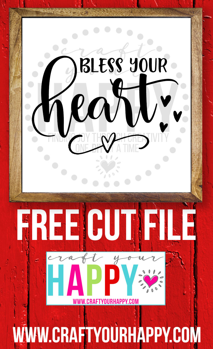 Free Valentine SVG Cut File - Bless Your Heart