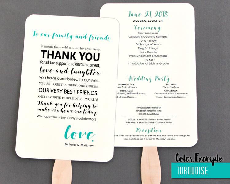 Thank You Message Wedding Program Fan Cool Colors