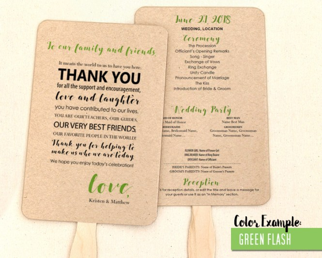 Thank You Message Wedding Program Fan