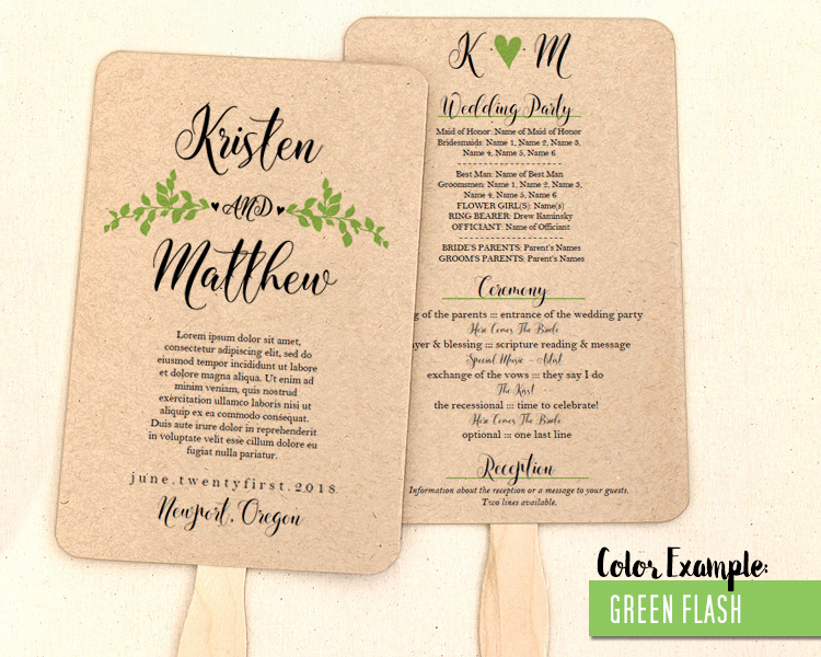Whimsical Branches Wedding Program Fan Cool Colors