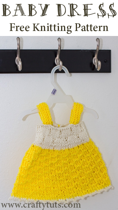Baby dress - Free knitting pattern. Free knitting pattern to create a little baby dress that would fit a newborn to a 3 to 4 months old approximately.