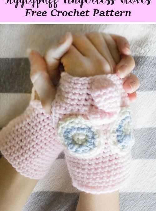 Jigglypuff Fingerless Gloves Free Crochet Pattern