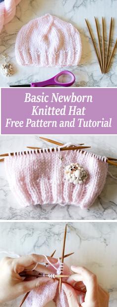 FREE Basic Newborn Knitted Hat Pattern and video tutorial. Beginner friendly newborn hat pattern. Includes written pattern and video tutorial.