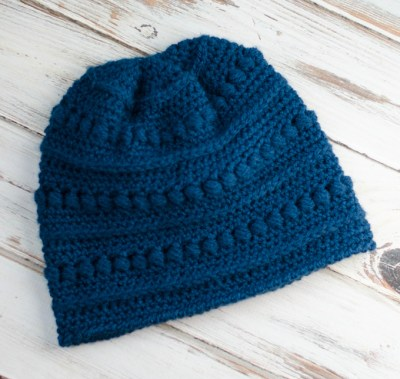 Blueberry Bead Stitched Beanie