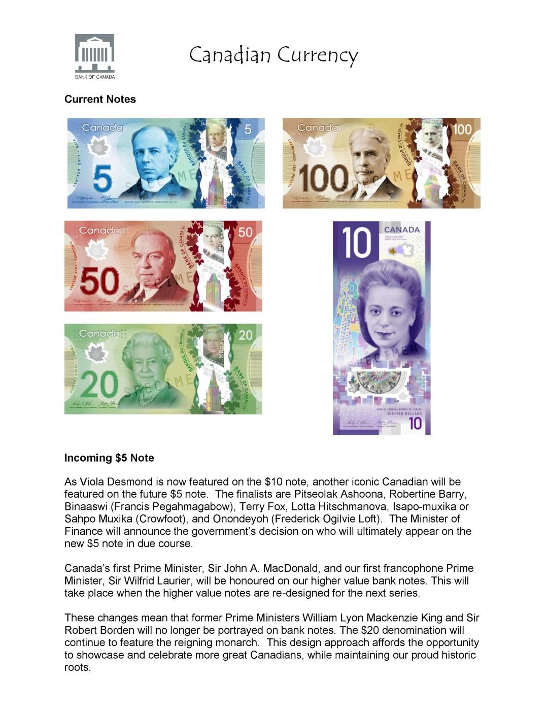 Money Math Worksheet Canadian