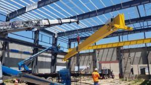 Bridge Crane installation with crew