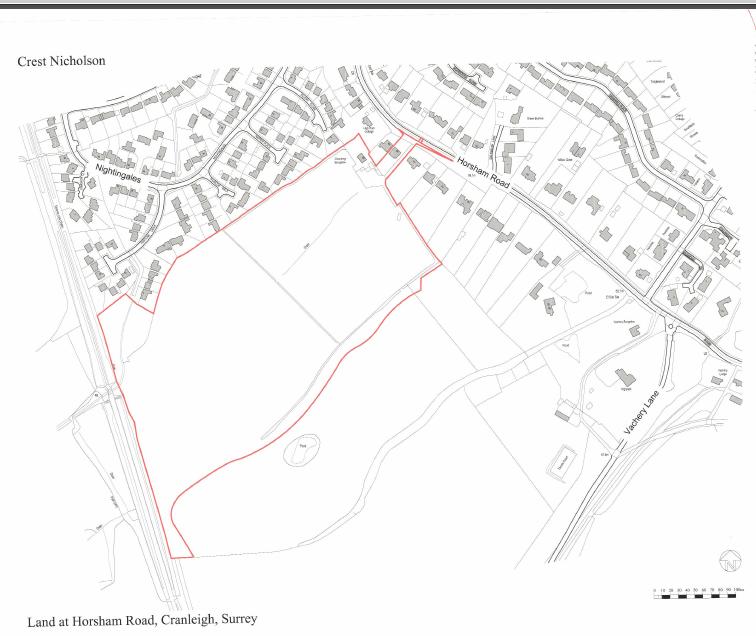 The Chatries Horsham Road Cranleigh site outline
