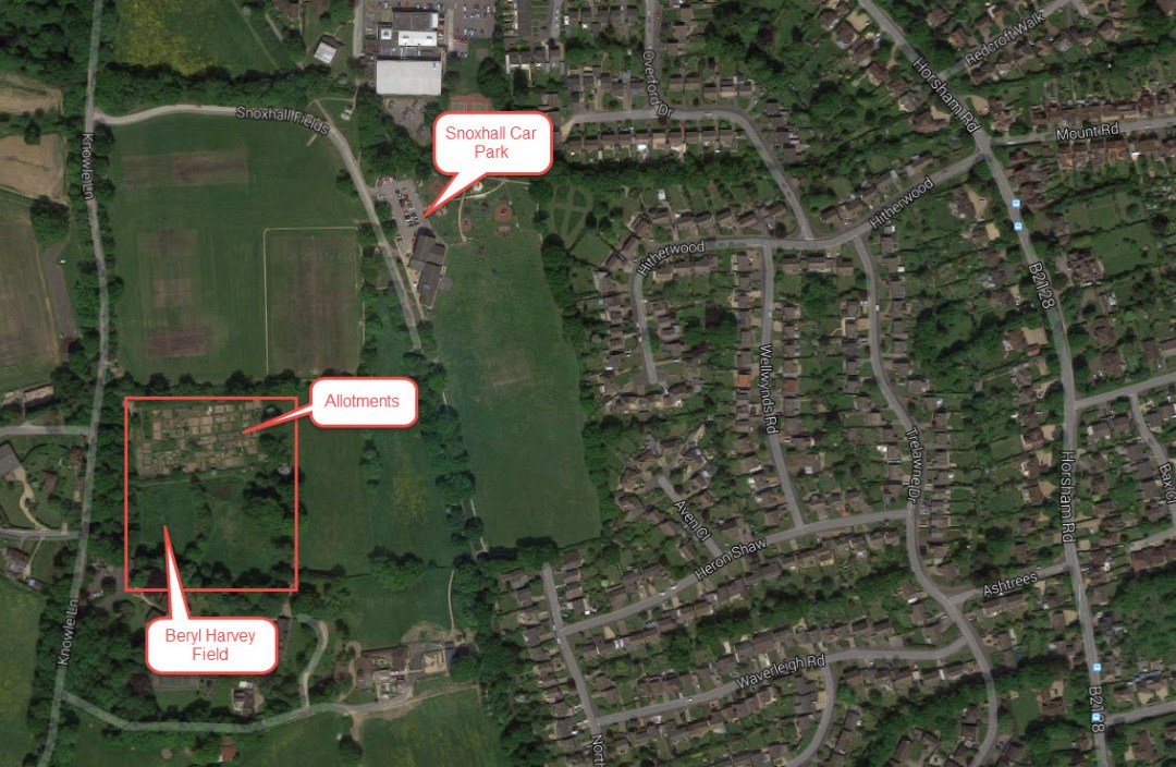 Position of Beryl Harvey Field in Cranleigh