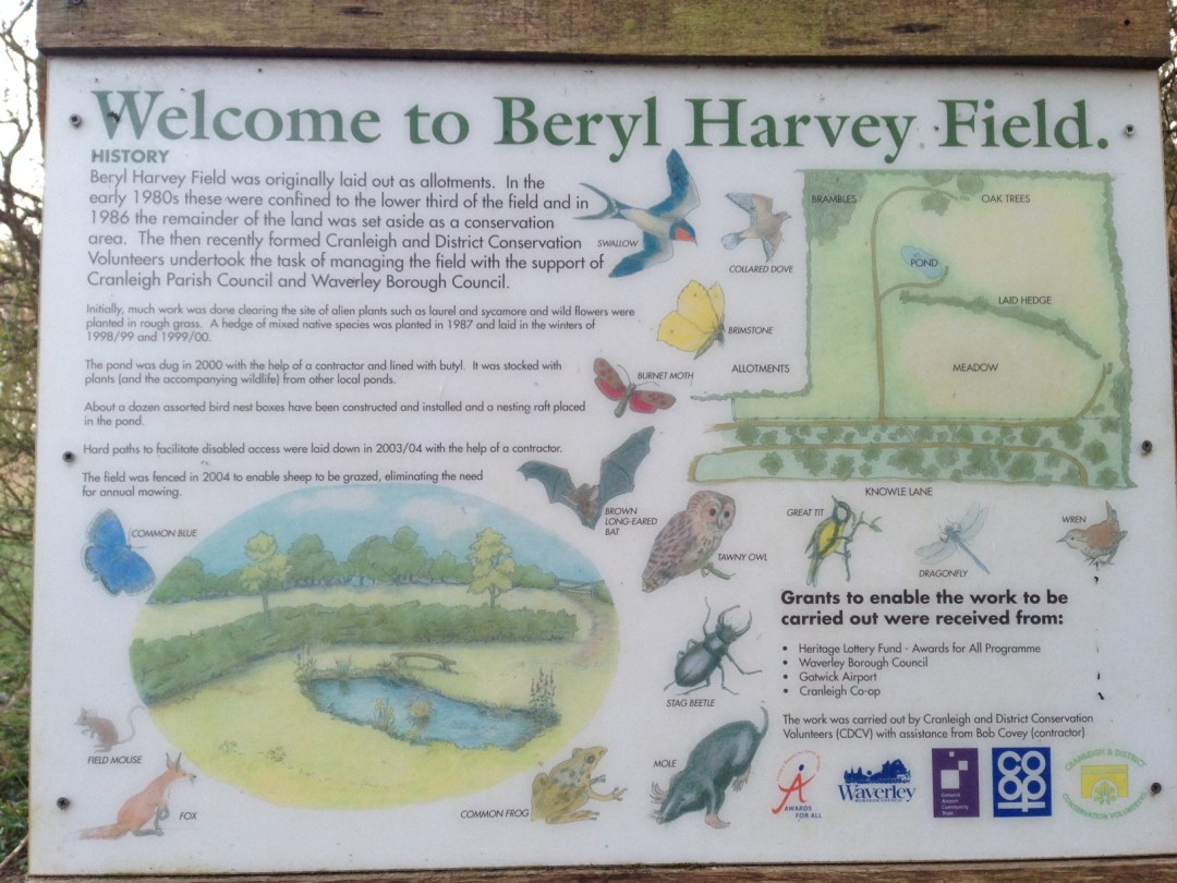 Beryl Harvey sign at entrance of field in Cranleigh