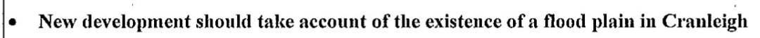 Point taken from Cranleigh Design Statement 2008 re flood plain