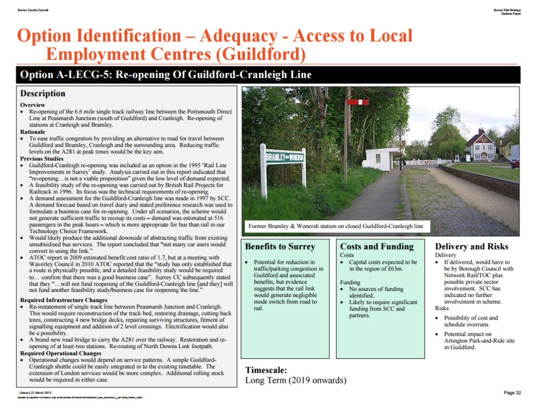 Extract Surrey County Council REport 2013 reopening Cranleigh Railway
