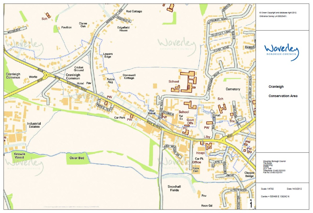Map of Cranleigh Conservation Area in High Street