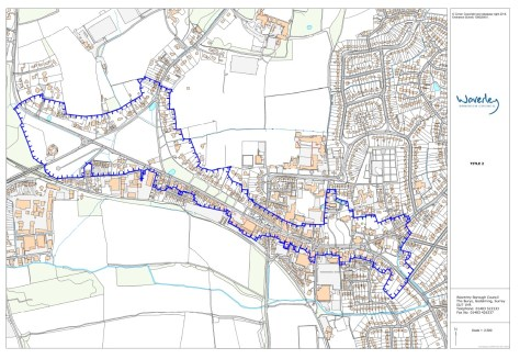 map of the Cranleigh High Street conservation area