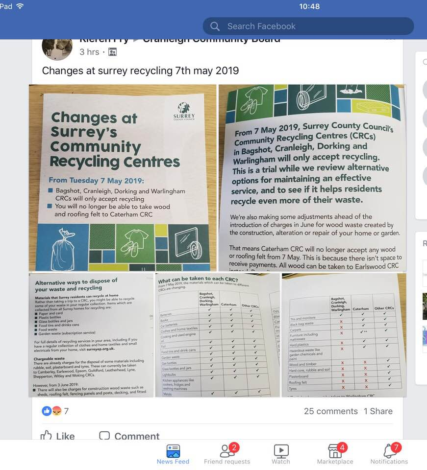 """dump"" before 7th May! Cranleigh Recycling Centre notice"