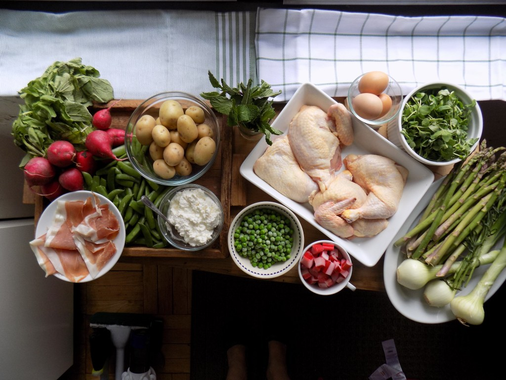 crate cooking spring simple basic seasonal food recipes capsule roast chicken farmer's market shopping vegetables ingredients