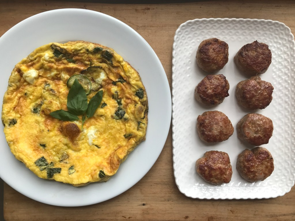 Crate cooking summer simple ingredients zucchini basil frittata sausage patties