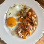 SWEET POTATO HASH WITH TURKEY AND FRIED EGGS