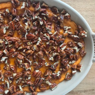 Crate Cooking Fall Autumn Easy Basic Simple Recipes Ingredients Thanksgiving Holidays sweet potato pudding candied pecans sides