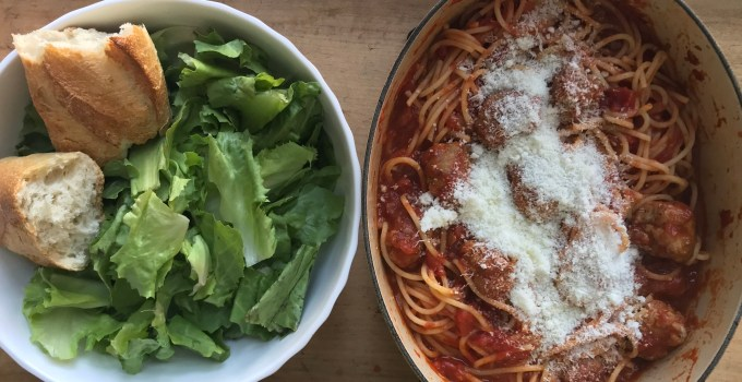crate cooking spring winter seasonal recipe simple easy valentine's meal husband wife cook spaghetti sausage meatballs tomato sauce cheese escarole salad lemon vinaigrette