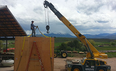 crane lifting crate