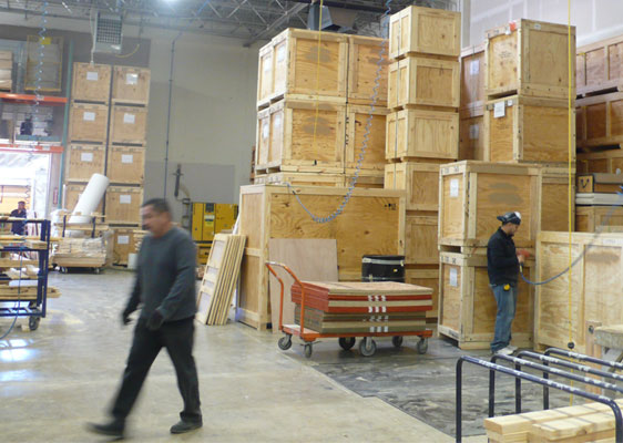 woodshop with crates