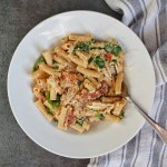 Creamy Chicken Penne with Spinach and Sun Dried Tomatoes (gluten free!)