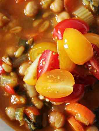 Spicy Kamut and Chick Pea Stew. A hearty, healthy, vegan stew. Perfect for batch cooking and to expand your cooking horizons!   Cravethegood.com