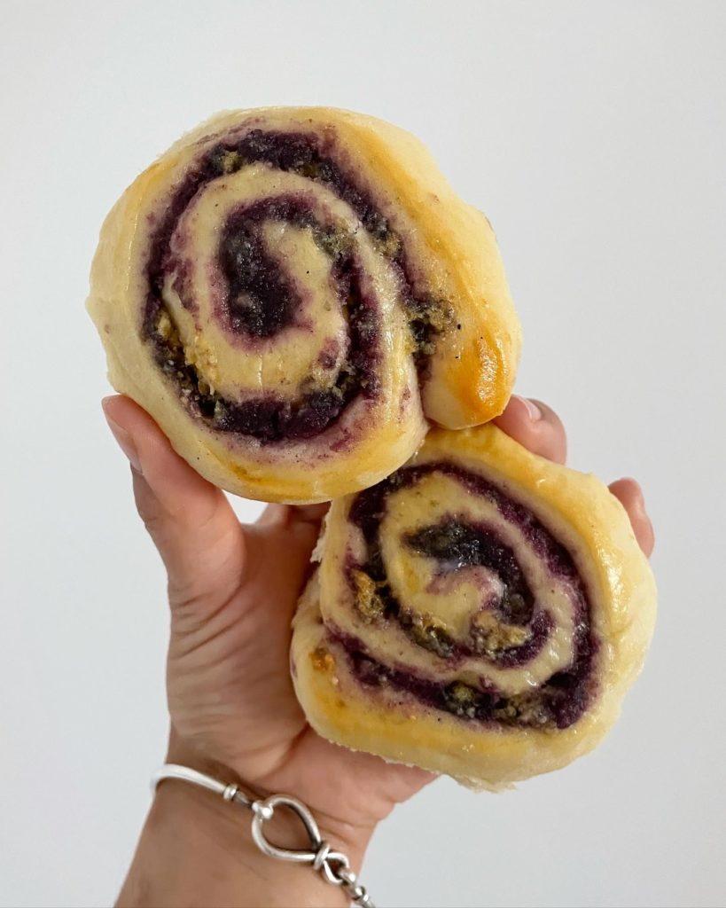 Sourdough Ube Crumble Sweet Rolls