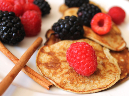 Banana-and-egg-protein-pancakes-with-berries