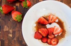 Cinnamon Paprika Crusted Chicken and Balsamic Roasted Strawberries